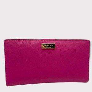 Kate Spade Bright Pink Large Slim Bifold Wallet